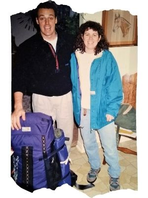 2 backpackers leaving for their trip to Africa