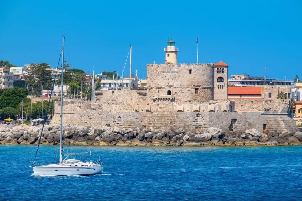 Rhodes harbour and boat we took on our 2 days in Athens