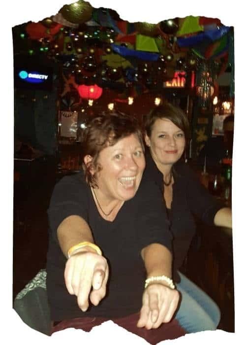 2 females drining in bar in New York City
